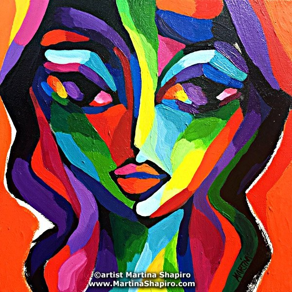 Abstract Girl On Orange original painting by artist Martina Shapiro