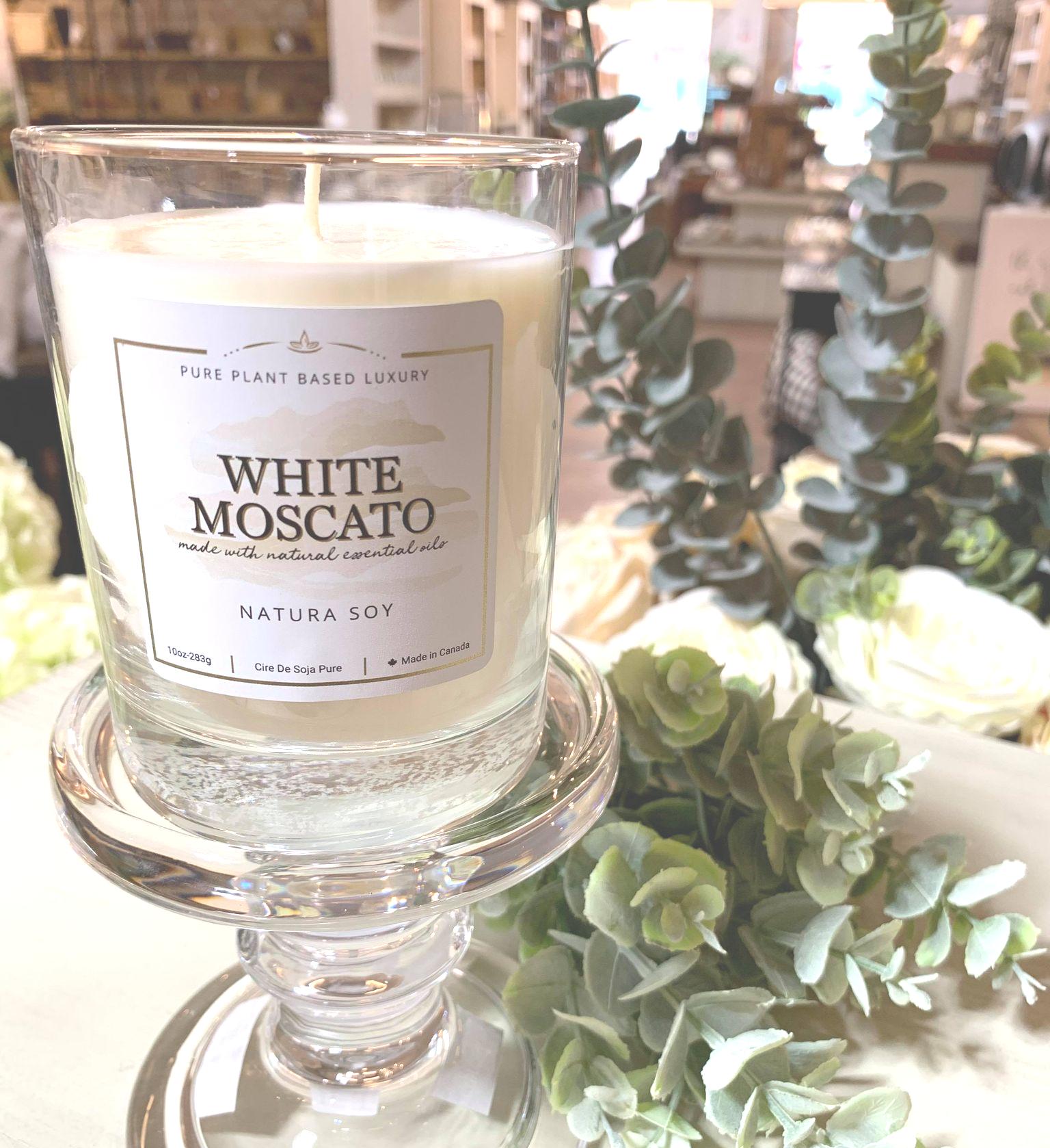 White Moscato Jasmine, Lemon, and Sweet Cognac.