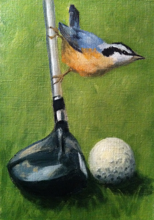 "Birdie / study 5"" x 7"" / sold oil on canvas paper"