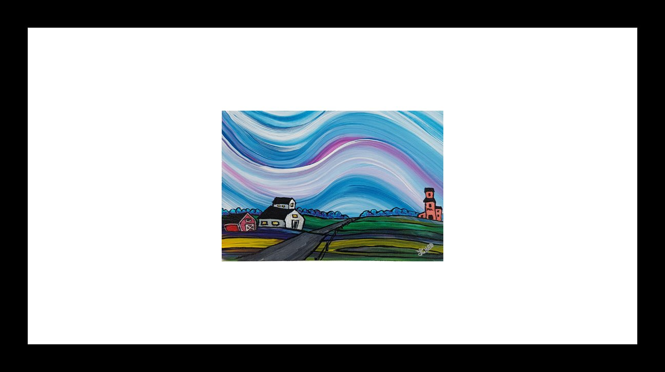"""Prairie Village"" [2018] Image: 6.5"" x 4.25"" Framed: 18"" x 12"" Acrylic on 246 lb. paper SOLD"