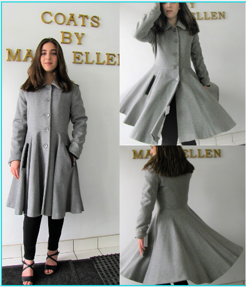 Style #10291-7  Smoke Grey  50% Cashmere/ Wool  Features: Feminine and elegant styling.  Inspired by the early 1950's.  Put this coat on and you'll feel just like a princess! Genuine Lambskin Leather Trim. Chamois lined. Extra buttons included.  In-Stock Colours: Smoke Grey, Houndstooth,  Winter White, Black Ruby Red, Plum, Rust  or can be custom made in the colour of your choice.  Made From Fabrics Imported From Italy and Other  European Countries : Cashmere or Cashmere  Blend,  Alpaca, 100% Pure Virgin Wool or can be  custom made in the fabric of your choice.  Size: S,M,L  Price: $ 650 and up