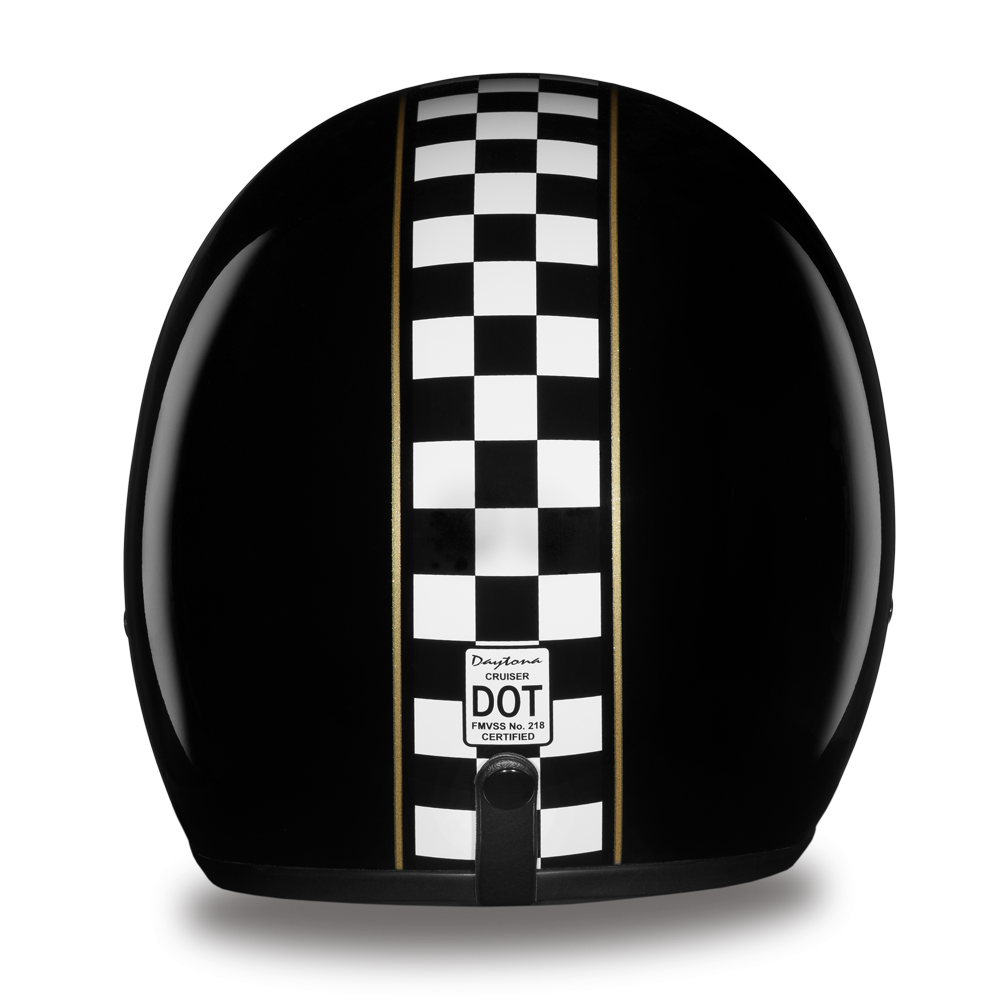 DAYTONA Cruiser CAFÉ RACER Casque avec coque en polycarbonate  Sangle avec attache micrométrique  Sangle de retenue de lunettes à l'arrière  Couleur Noir brillant avec damiers Homologation DOT  S à 2XL prix: 129.59$$