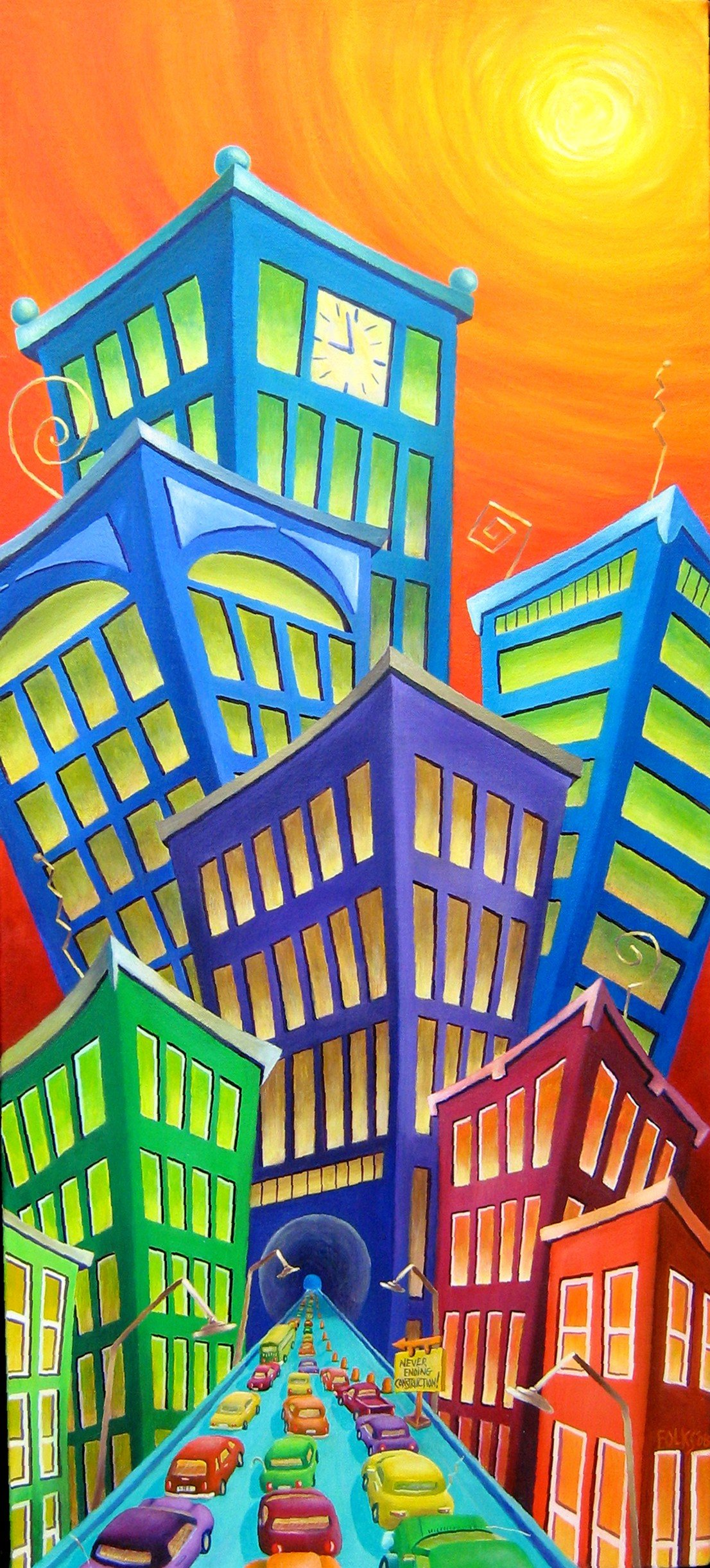 "Urban Crawl 16x36"" Acrylic on canvas"