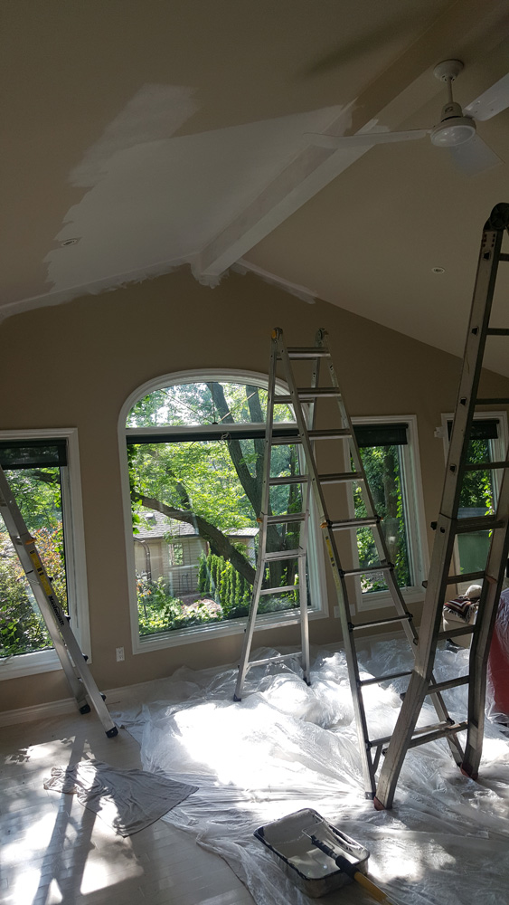 We are painting the ceilings first then the walls then all the trim