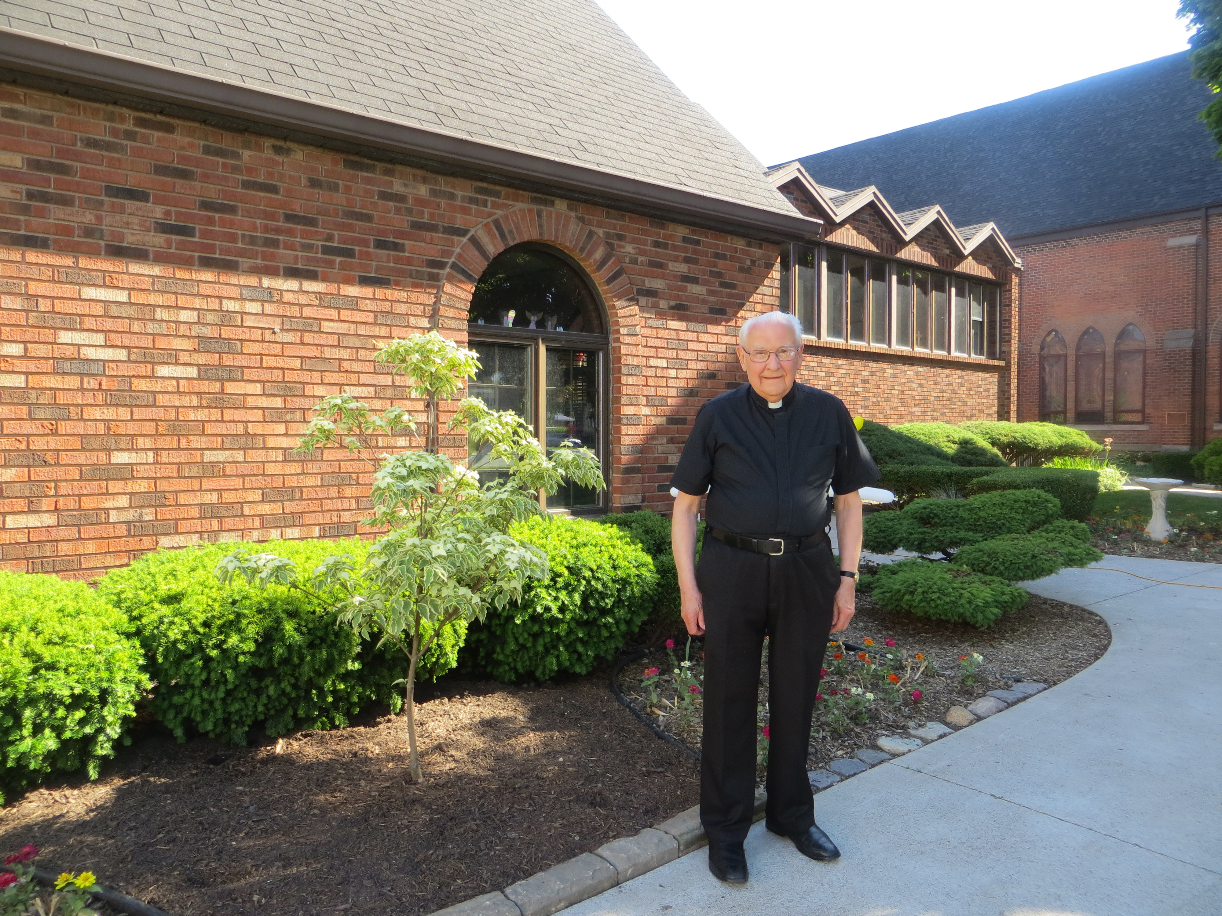 June 8th, 2020 - Archdeacon Ron beside the Samaritan Dogwood planted in honour of his 90th birthday