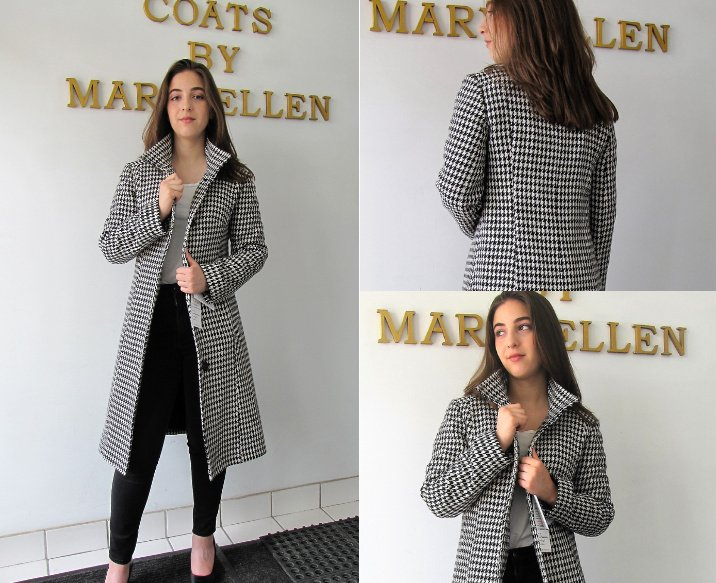 Style #B6385-17 -  Black/White Houndstooth 100% Pure Virgin Wool.   Features:  Slim fit style with front button closure.   Stand Collar. Genuine chamois lining for warmth.  Extra Button included.  In-Stock Colours:  Houndstooth or can be made in  the colour of your choice.  Fabric Imported from Italy:  100% Pure Virgin  Wool or can be made in the fabric of your choice.  Sizes:  S, M, L  Price $499