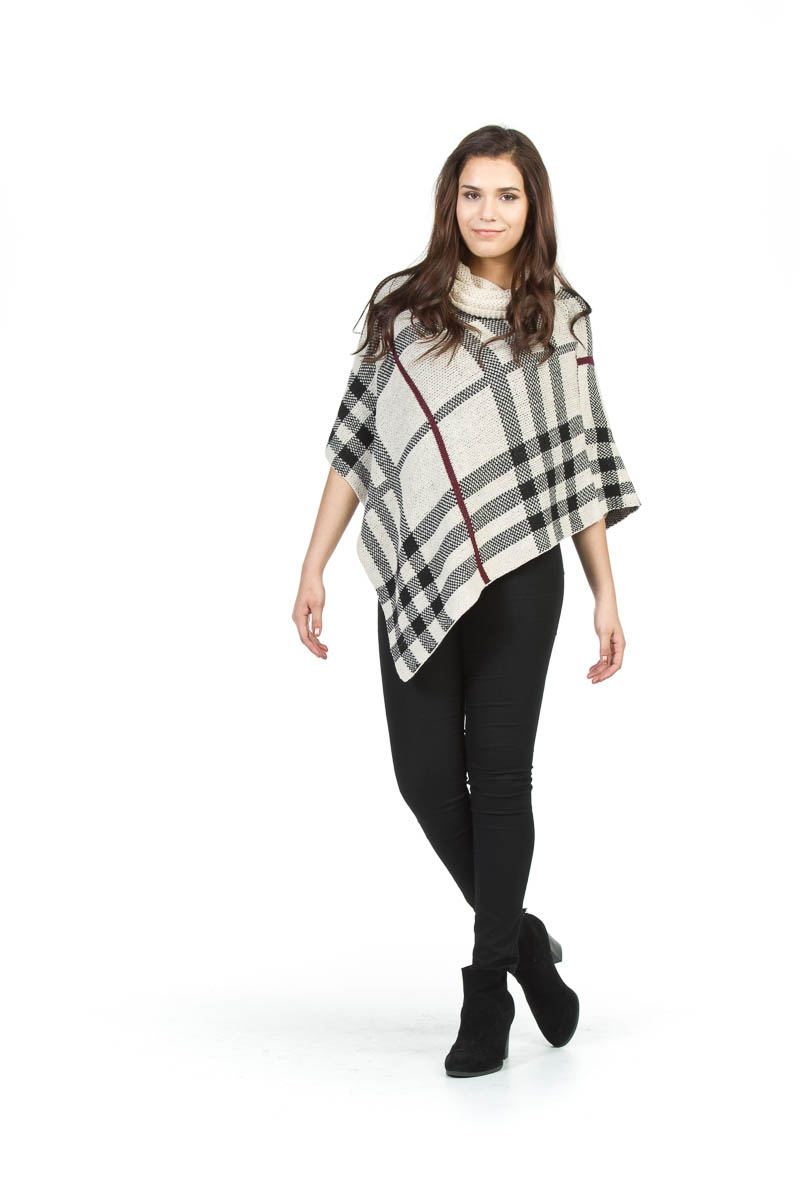 Plaid Cowl Neck-$90.00 One Size