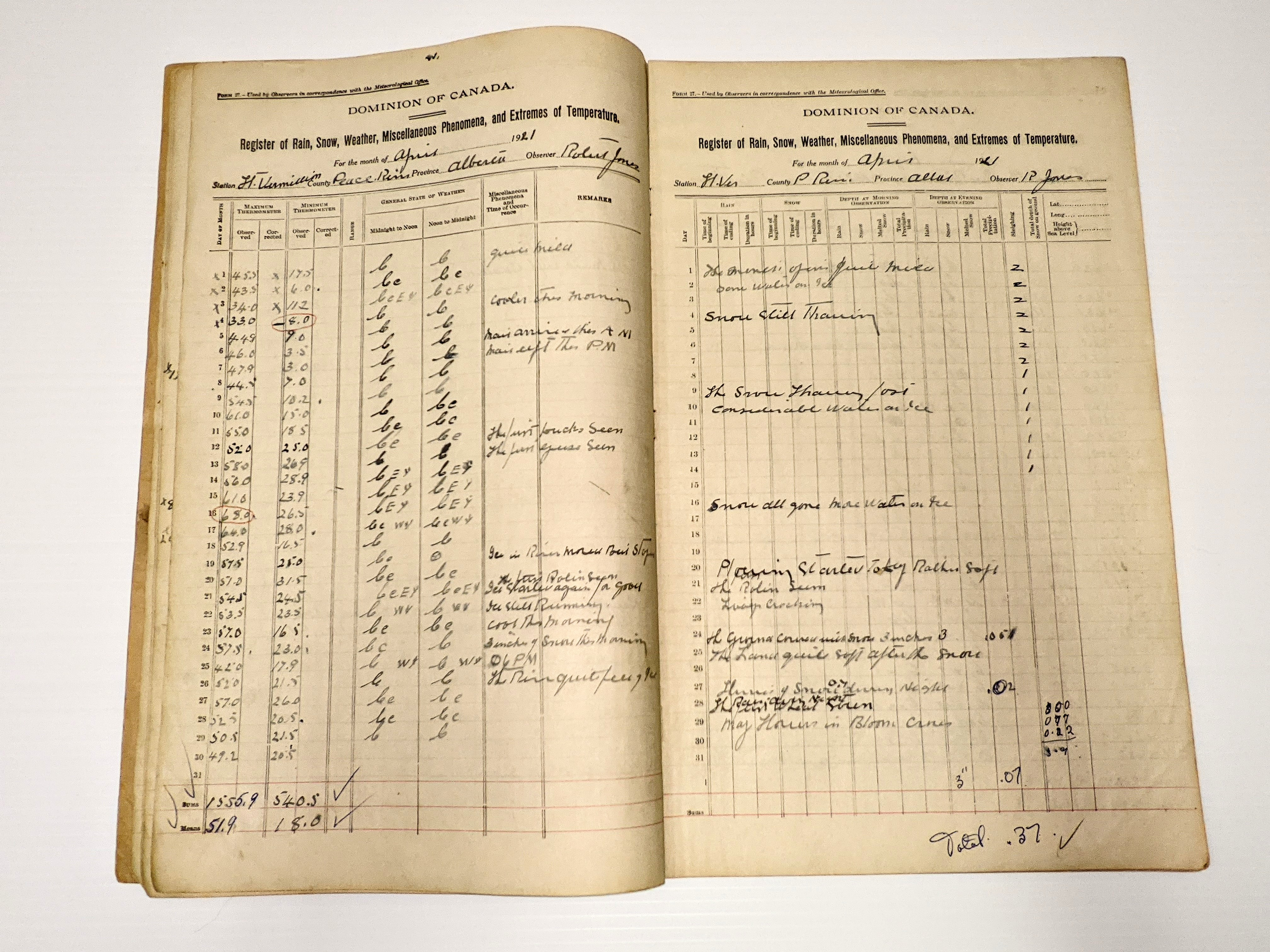 """This week we have the Experimental Farm Meteorological Register from 1921! This booklet contains the entire year of records but we opened up to April to compare the temperatures today with those 100 years ago! The temperature is quite similar to today (April 19th) with highs of 57.5 (13°C) and lows of  25 (-3°C). You'll notice on April 16th it is noted """"Snow all gone more water on ice"""", however on the 24th 3 inches of snow fell - lets hope it is not the same this year!  19/04/2021 Fort Vermilion Experimental Farm"""