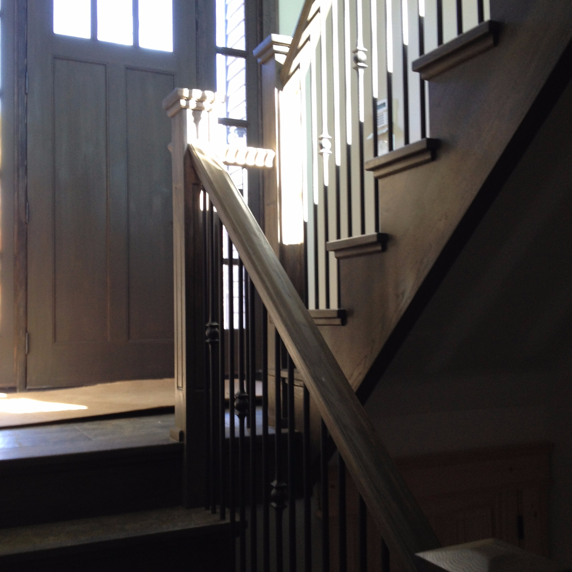 Straight white oak stair