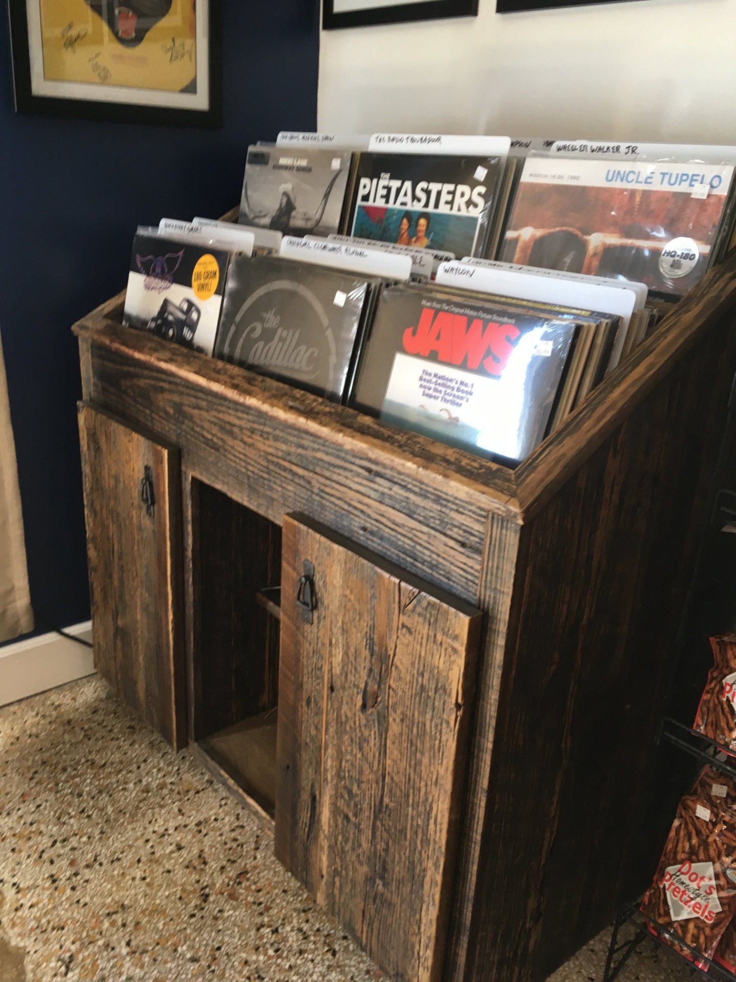Reclaimed Barn Wood Record Display