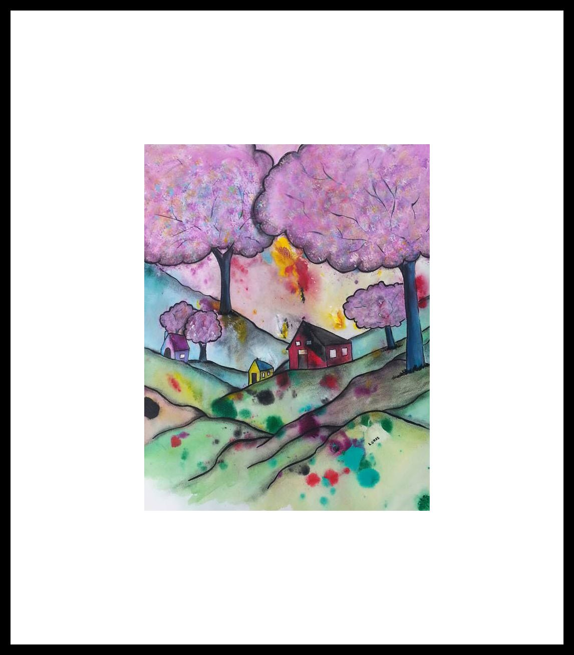 "2015-18 ""Cotton Candy Trees"" Framed 29"" x 35"" Mixed media on 246 lb. paper SOLD"